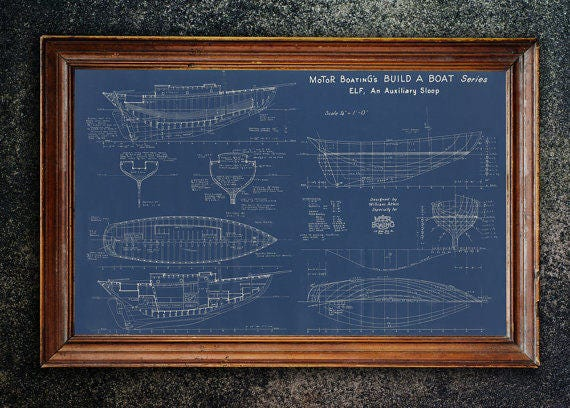 Print of Vintage ELF Boat Blueprint from Motor Boating's Build a Boat Series on Your Choice of Matte Paper, Photo Paper, or Canvas