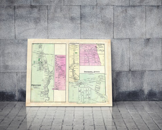 Print of Antique Map of Freetown Nassau County New York on Photo Paper, Matte Paper or Stretched Canvas