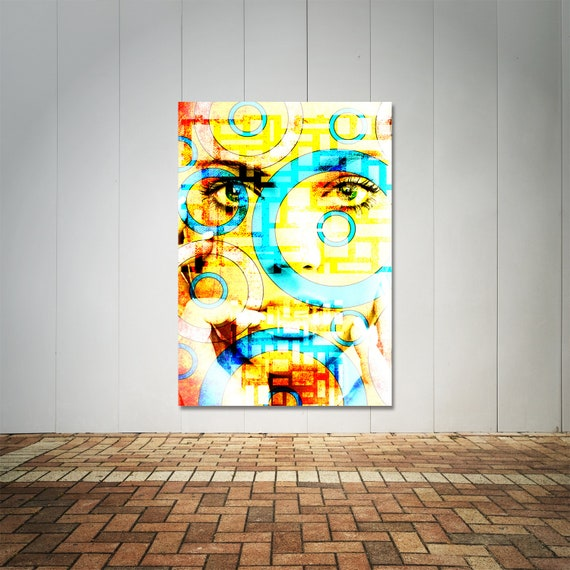 Fine Art Print on Photo Paper, Matte Paper, or Canvas Featuring Female Portrait and Colorful Pattern Collage. Free Shipping!