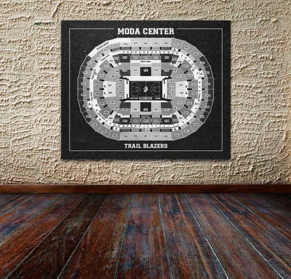 Vintage Print of Moda Center Seating Chart on Premium Photo Luster Paper Heavy Matte Paper, or Stretched Canvas. Free Shipping!