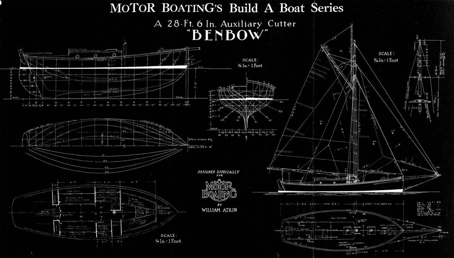 Print of vintage benbow boat blueprint from motor boatings build a print of vintage benbow boat blueprint from motor boatings build a boat series on your choice of matte paper photo paper or canvas malvernweather Choice Image