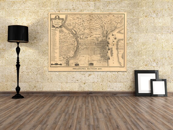 Print of Antique Map of Philadelphia on Photo Paper, Matte Paper or Stretched Canvas