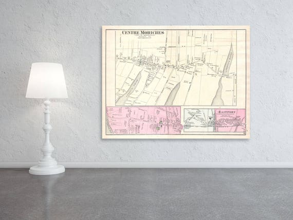 Print of Vintage Map of Centre Moriches of Suffolk County in Long Island New York on Matte Paper, Photo Paper, and Stretched Canvas
