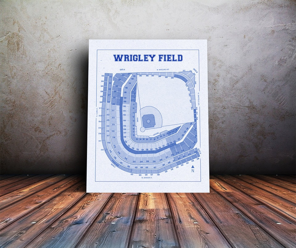 Vintage print of wrigley field seating chart blueprint chicago cubs vintage print of wrigley field seating chart blueprint chicago cubs illinois photo paper matte canvas sports art baseball diagram sports malvernweather Images