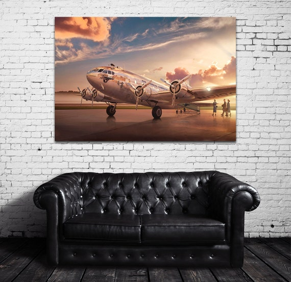 Vintage Antique Pan American Airways Clipper Comet Print on Photo Paper Matte Paper Canvas Art Giclee Print