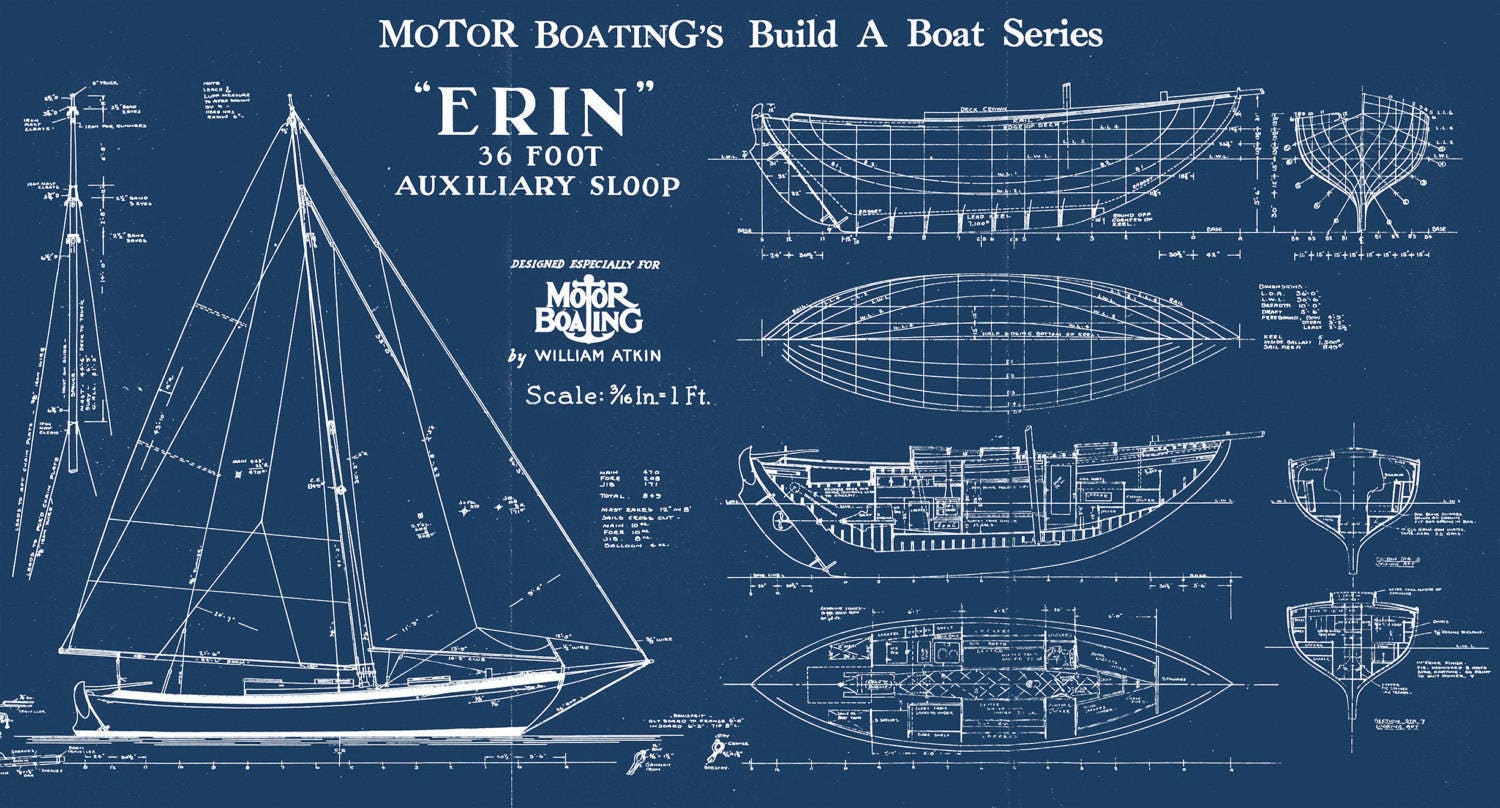 Print of vintage erin boat blueprint from motor boatings build a print of vintage erin boat blueprint from motor boatings build a boat series on your choice of matte paper photo paper or canvas malvernweather Gallery