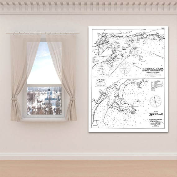 Antique Print of Harbor Chart of Marblehead, Salem & Lynn, Massachusetts on your choice of Photo Paper, Matte Paper or Canvas Giclee