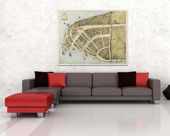 Print of Antique Map of Castelloplan Amsterdam on Photo Paper Matte Paper or Stretched Canvas