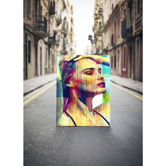 Fine Art Print on Photo Paper, Matte Paper, or Canvas of Female Portrait and Colorful Pattern Collage. Many Sizes Available. Free Shipping