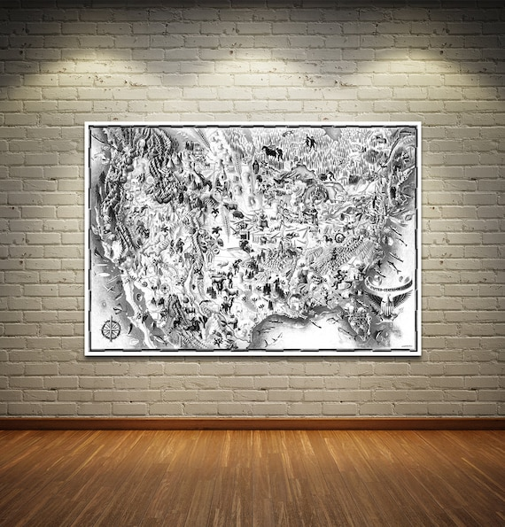 Vintage Antique Print of United States of America on Photo Paper Matte Paper Canvas Art Giclee