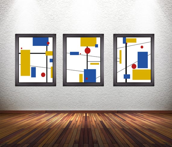 Set of 3 Minimalist Modern Abstract Art Prints on Premium Photo Paper, Heavy 300 GSM Matte Paper, or Stretched Canvas