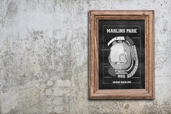Vintage Print of Marlins Park Seating Chart Miami Marlins Baseball Blueprint on Photo Paper, Matte Paper or Stretched Canvas