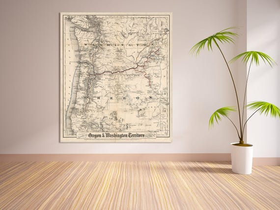 Print of Antique Map of Washington and Oregon on Photo Paper Matte Paper or Stretched Canvas