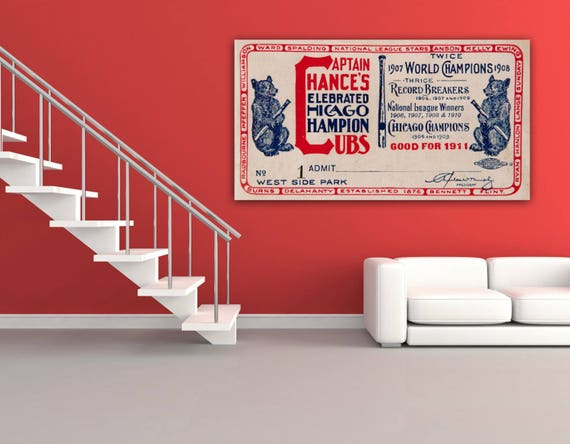 Vintage Print of Chicago Cubs Ticket Stub on Photo Paper, Matte Paper or Stretched Canvas