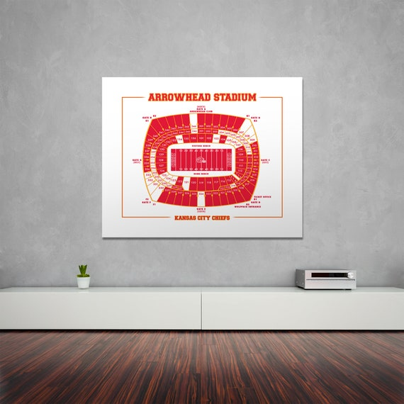 Vintage Style Print of Arrowhead Stadium Seating Chart on Photo Paper, Matte Paper, or Stretched Canvas
