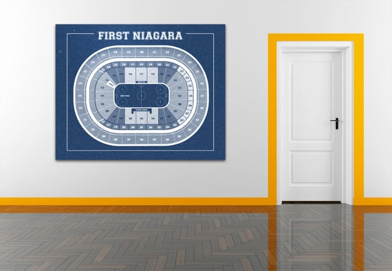 Vintage New Buffalo Sabres First Niagara Center on Photo Paper, Matte paper or Canvas Sports Stadium Tickets Art Home Decor Line Drawing
