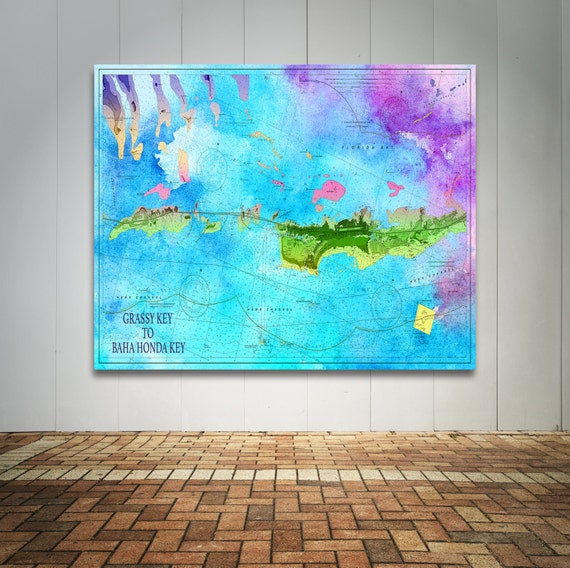 Artistic Print of Florida Key Chart on your choice of Photo Paper, Matte Paper or Canvas Giclee