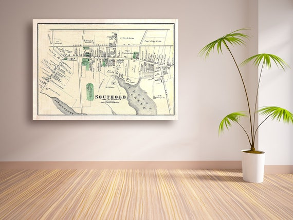 Vintage Print of a Map of Southold in Suffolk County of Long Island New York. Free Shipping on all Items!