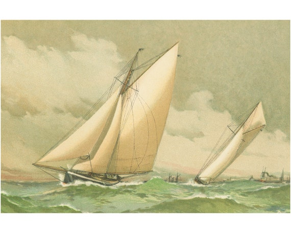 Print of Sailboat Watercolor Illustration on Matte Paper, Premium Photo Paper, or Stretched Canvas.