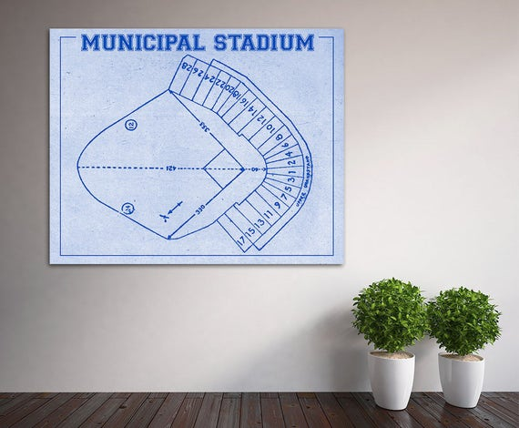 Vintage Print of Kansas City Athletics Municipal Stadium Seating Chart Baseball Blueprint on Photo Paper, Matte Paper or Stretched Canvas