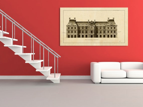 Antique Print of Palace of Luxembourg  on your choice of color and Photo Paper, Matte Paper or Canvas Giclee.