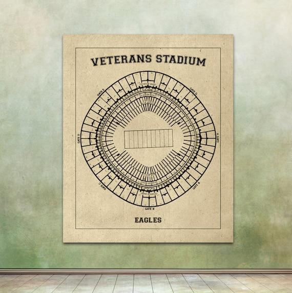 Print of Veterans Stadium Vintage Eagles Blueprint FREE SHIPPING Football Photo Paper Matte or Canvas Sports Drawing Memorabilia