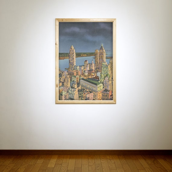 Antique Vintage Style Photo of New York Financial Center on Photo Paper, Matte Paper or Stretched Canvas