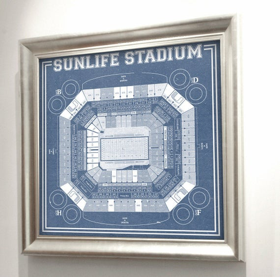 Print of Vintage Sunlife Stadium Seating Chart Seating Chart on Photo Paper, Matte paper or Canvas