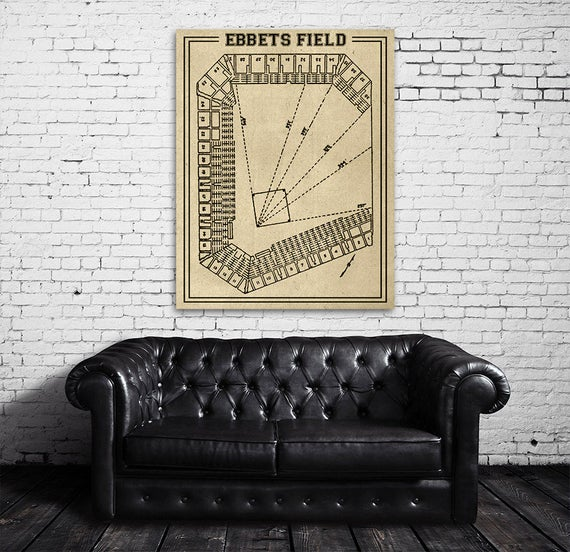 Print of Vintage Ebbets Field Seating Chart on Photo Paper, Matte paper or Canvas
