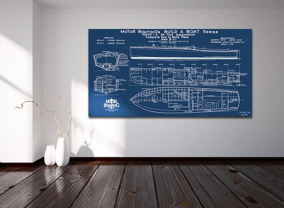 Vintage Nautical Boat Blueprint on Canvas, Matte or Photo paper, gift for him birthday hoilday beach house art