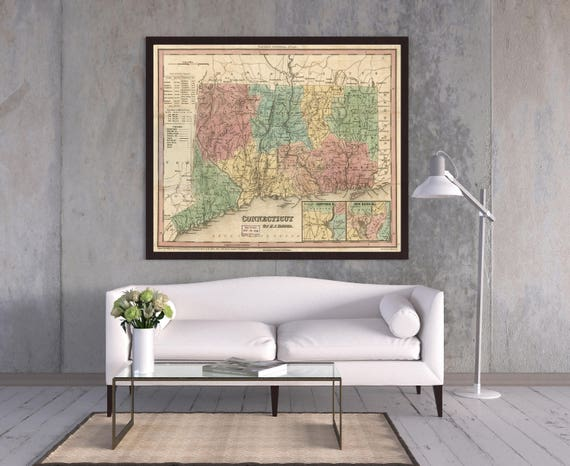 Print of Antique Map of Connecticut on Photo Paper Matte Paper or Stretched Canvas