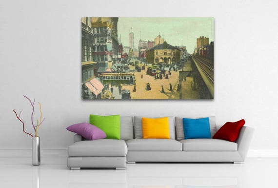 Antique Vintage Style Print of Herald Square, New York City on Photo Paper, Matte Paper or Stretched Canvas