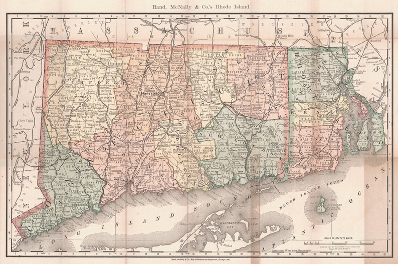 Vintage Print of Rhode Island and Connecticut Map on Your Choice of Matte Paper Photo Paper or Stretched Canvas