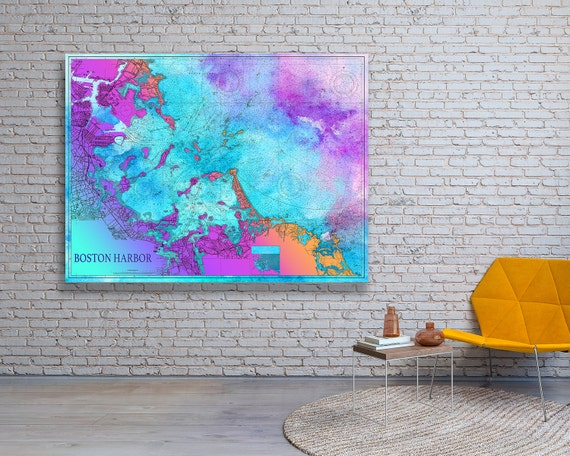 Artistic Print of Boston Harbor Nautical Chart on your choice of Photo Paper, Matte Paper or Canvas Giclee