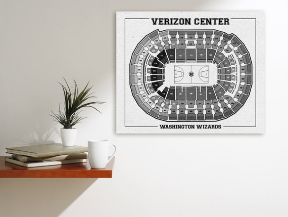 Vintage Print of Verizon Center Seating Chart on Premium Photo Luster Paper Heavy Matte Paper, or Stretched Canvas. Free Shipping!