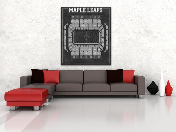 Vintage Print of the Maple Leafs' Maple Leaf Gardens Seating Chart on Your Choice of Photo Paper, Matte Paper, or Canvas