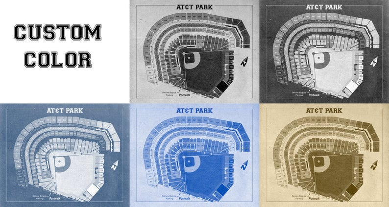 Vintage Print of AT&T Park Seating Chart San Francisco Giants Baseball  Blueprint on Photo Paper, Matte Paper or Stretched Canvas