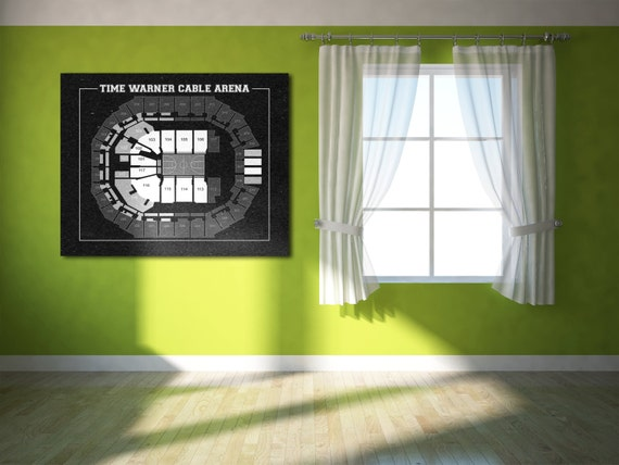 Vintage Print of Time Warner Cable Arena Seating Chart on Premium Photo Luster Paper Heavy Matte Paper, or Stretched Canvas. Free Shipping!