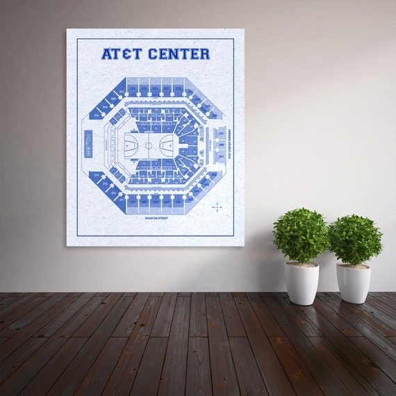 Vintage Print of At&t Center Seating Chart on Premium Photo Luster Paper Heavy Matte Paper, or Stretched Canvas. Free Shipping!