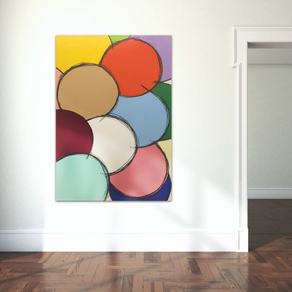 Giclee Print of Original Stunning modern art painting abstract oil ink Minimalist Color Circle Canvas matte paper photo paper frame