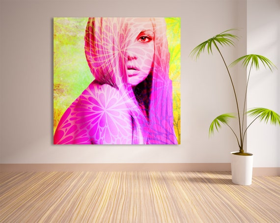 Fine Art Print of Abstract Female Portrait Contemporary Modern Art. Printed on Canvas, Photo Paper, and Matte Paper. Free Shipping!