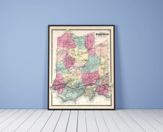 Print of Antique Map of Fairfield, Connecticut on Matte Paper, Photo Paper, or Stretched Canvas. Free Shipping!