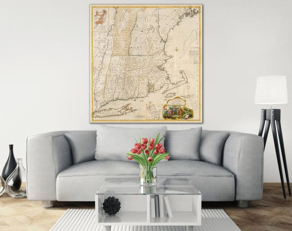 Print of Vintage Map of Colonial New England on Photo Paper, Matte Paper, or Stretched Canvas