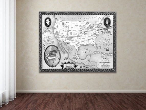 Vintage Antique Air Mail and Passenger Routes Print of America Wright Brothers on Photo paper Matte paper Canvas Giclee