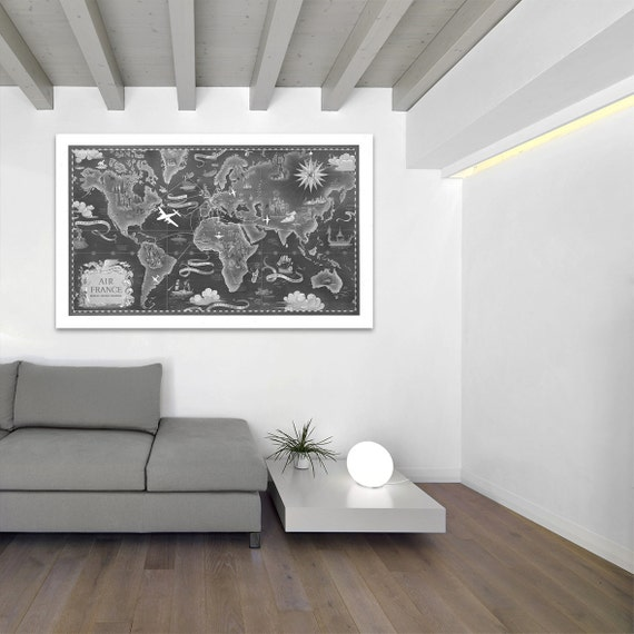 Vintage Antique Cultural Air France World Map Airline Plane on photo paper Matte paper Canvas Art Home Decor Giclee Print