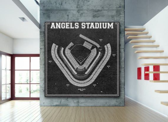 Vintage Angel Stadium Los Angeles Baseball Drawing Artwork art print on Paper or Canvas, Dad gift, wall decor,  man cave, nursery baby