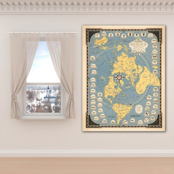 Vintage Antique Print of Story Map of Flying on Photo Paper Matte Paper Canvas Giclee