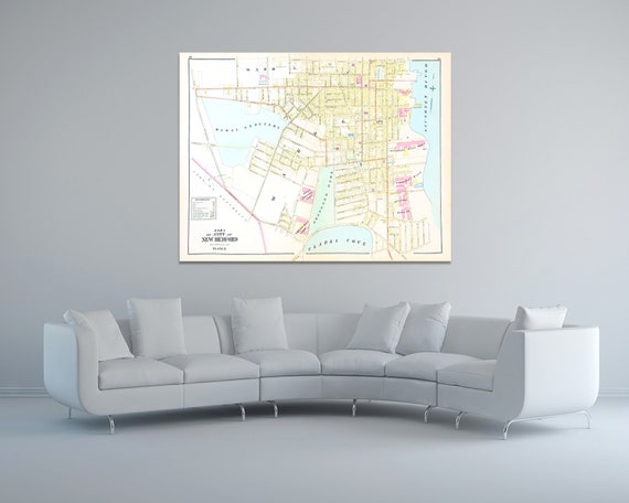 Print of Antique Town Map of New Bedford Plate 3 Massachusetts on Photo Paper, Matte Paper and Stretched Canvas