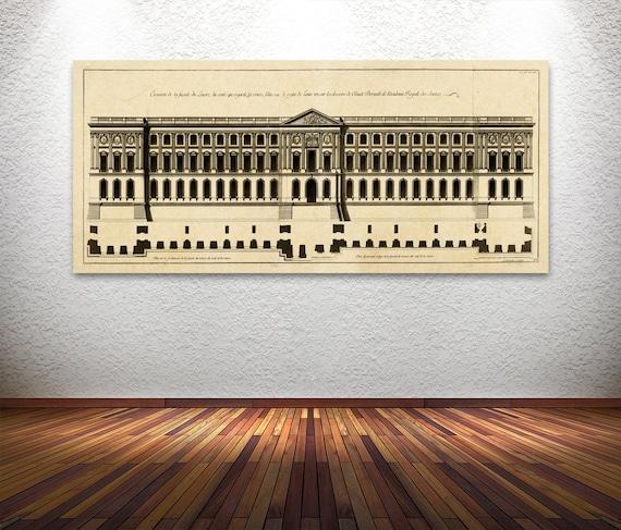 Elegant Print of Vintage Style Elevation Plan of Louvre Palace in Paris, France.