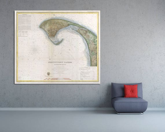 Artistic Print of Antique Provincetown Nautical Chart on your choice of Photo Paper, Matte Paper or Canvas Giclee